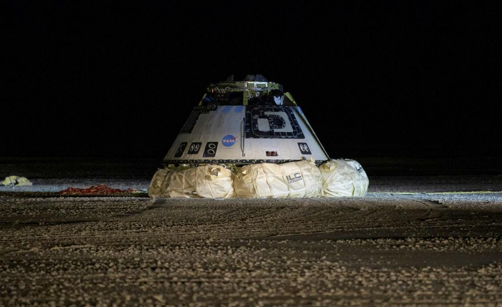This NASA photo shows the Boeing CST-100 Starliner spacecraft after it landed in White Sands, New Mexico, on December 22, 2019
