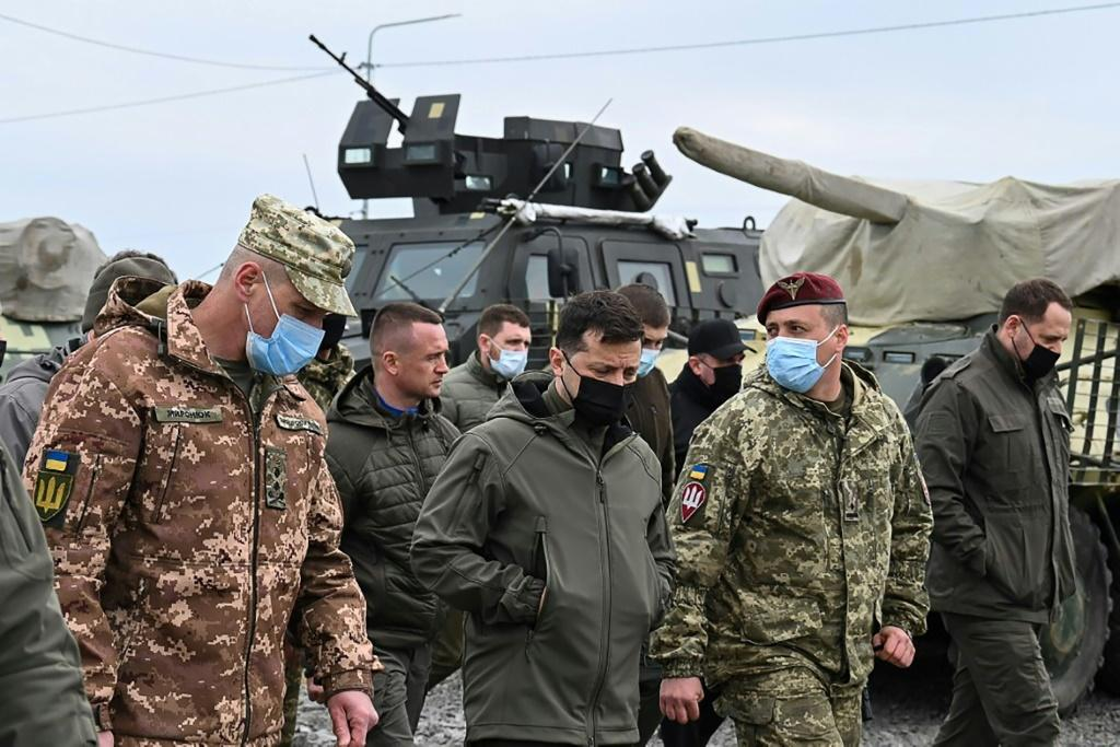 Ukraine's President Volodymyr Zelensky visits army outposts in the Kherson region, on the administrative border with Russia-annexed Crimea, on April 27, 2021