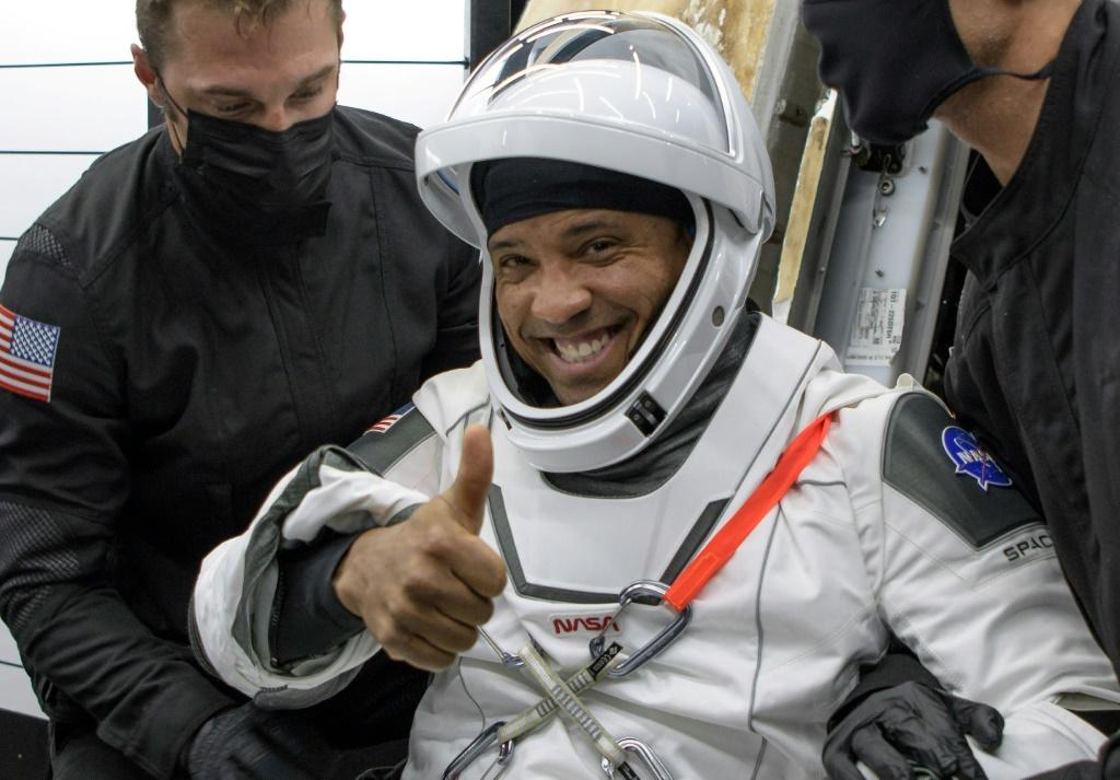 US astronaut Victor Glover after exiting the SpaceX Crew Dragon capsule that brought him back to Earth, landing off Florida May 2, 2021