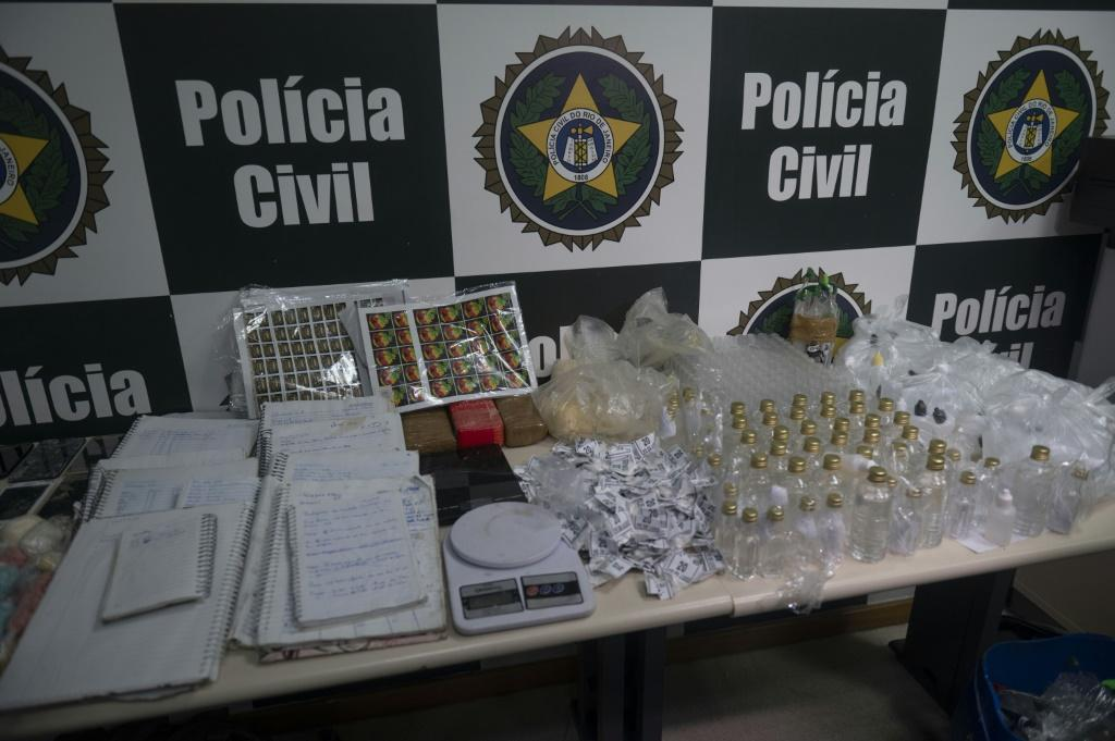 View of drugs seized during a police operation against alleged traffickers at the Jacarezinho favela in Rio de Janeiro