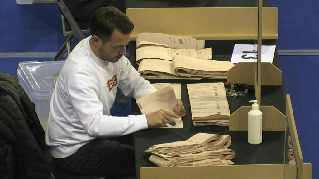 """IMAGESElection officials start counting votes in Glasgow the day after the """"Super Thursday"""" regional and local elections. Results in Scotland are due on Saturday, May 8."""