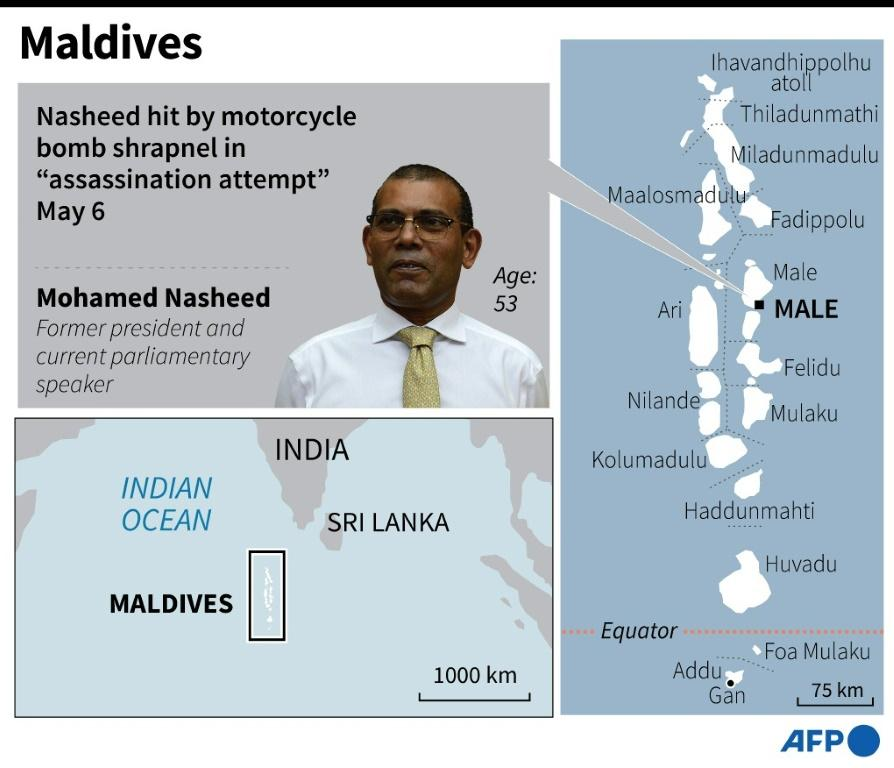 Map locating Male in the Maldives where former president Mohamed Nasheed was injured in an 'assassination attempt'