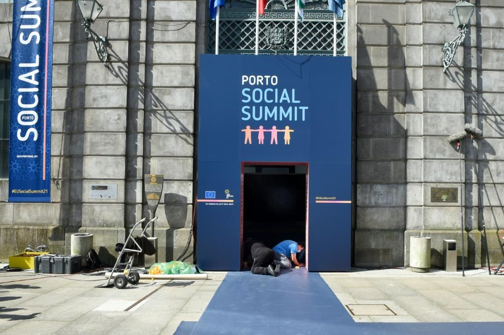 Most of the EU's 27 leaders will make the trip to Porto where activists were also gathered to argue for strong action on social issues