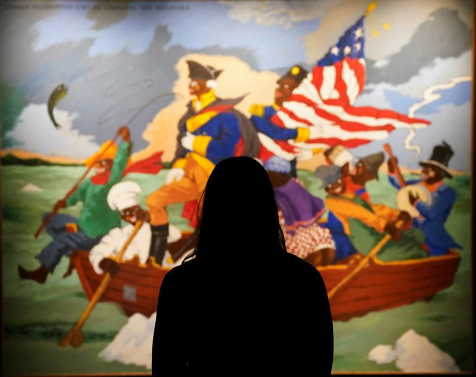 """Sotheby's is auctioning Robert Colescott's """"George Washington Carver Crossing the Delaware: Page from an American History Textbook"""