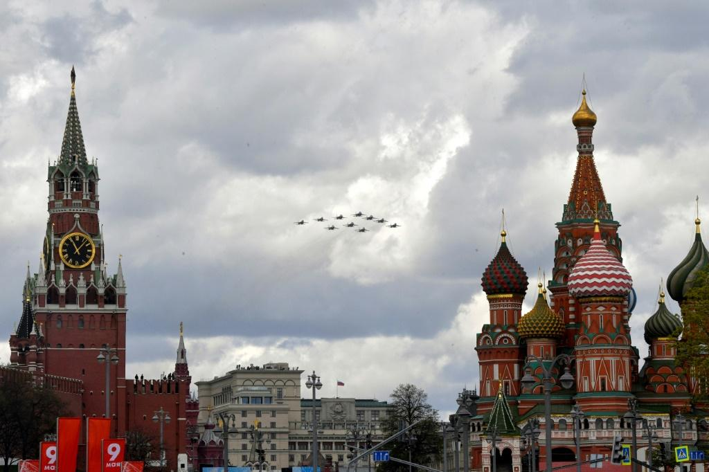 Russian Sukhoi jet fighters fly over the Kremlin and Red Square during rehearsals for the Victory Day military parade as Moscow prepares to exit the Open Skies Treaty trashed by former US president Donald Trump