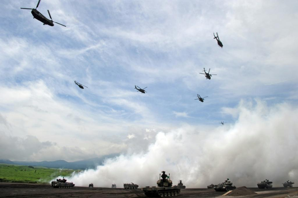 The drill is the first involving all three countries and coming with rising concern about China's stance in the region
