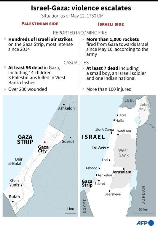 Map locating Israel and the Gaza Strip and the escalating hostilities there, situation as of May 12