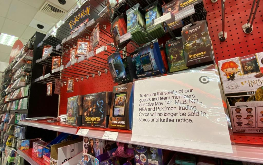 A sign warning customers that Pokemon trading cards will no longer be sold is displayed at a Target store in Los Angeles on May 14, 2021