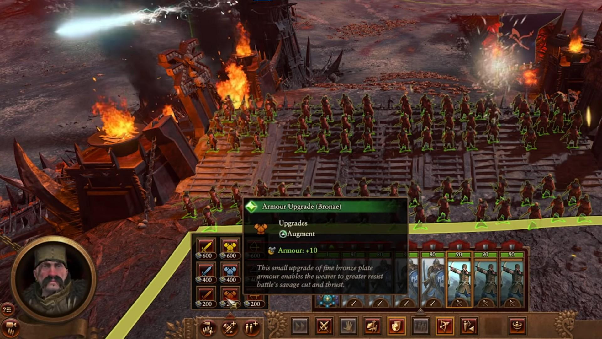 The new in-game Upgrades menu in Total Warhammer 3
