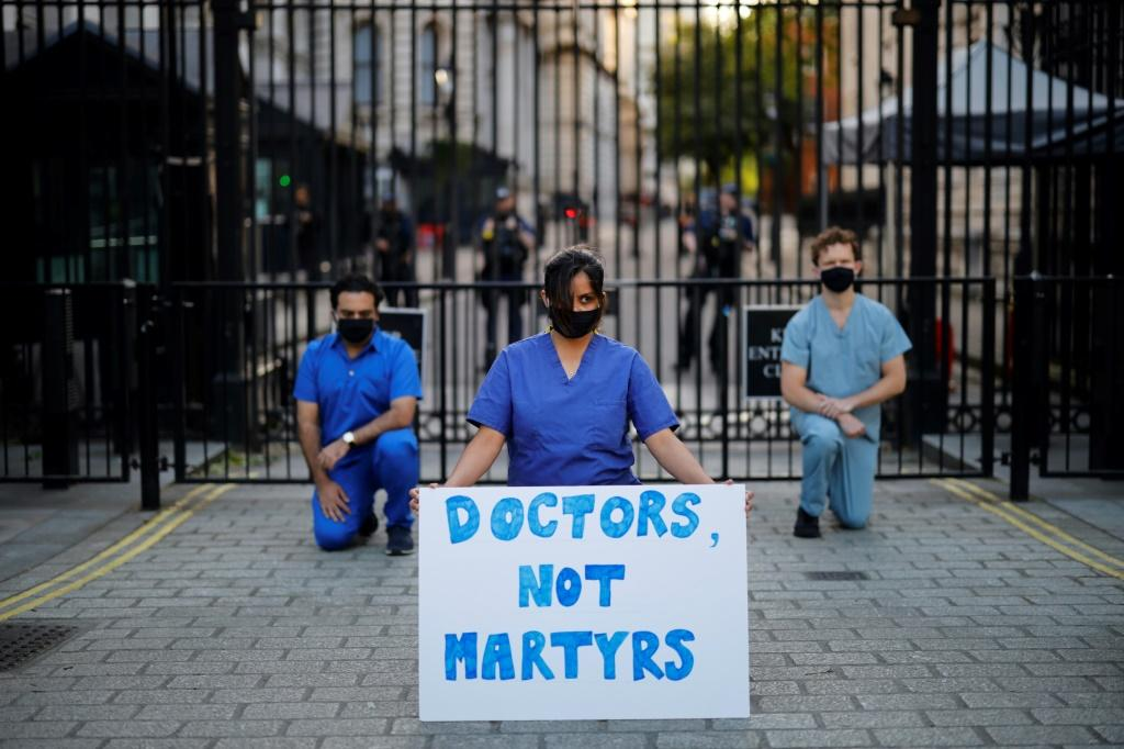 Doctors and other health workers have protested during the pandemic about a lack of recognition