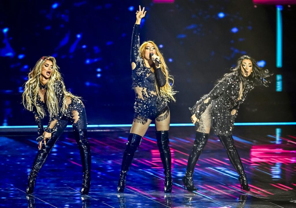 Hurricane from Serbia performs during a rehearsal of the second semifinal of the Eurovision Song Contest in Rotterdam