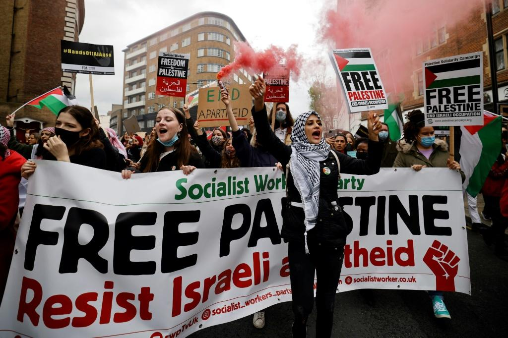 Pro-Palestinian activists and supporters let off smoke flares, wave flags and carry placards in central London