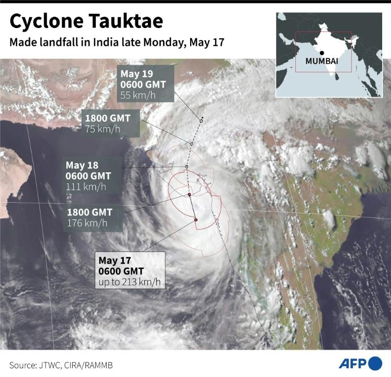 Satellite map showing projected path of cyclone Tauktae which made landfall in India late Monday.