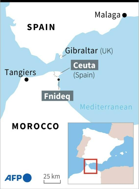 Map locating the Spanish enclave of Ceuta in Morocco, and the town of Fnideq in Morocco.