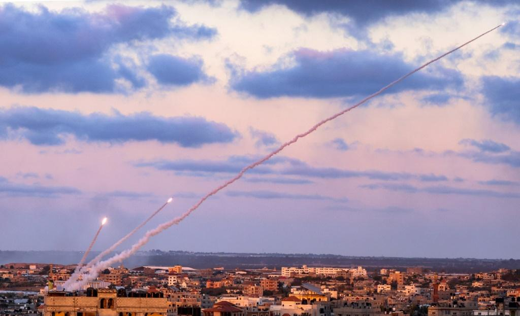 Rockets are launched towards Israel from the southern Gaza Strip on May 17