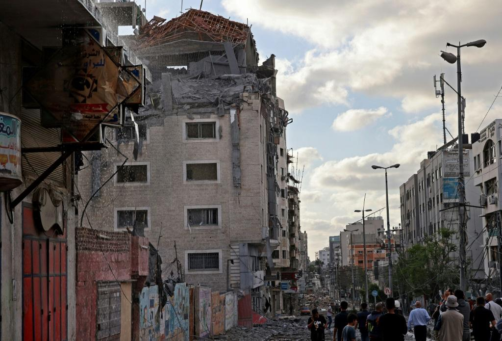 The office of Qatar's Red Crescent in Gaza was badly damaged by air strikes