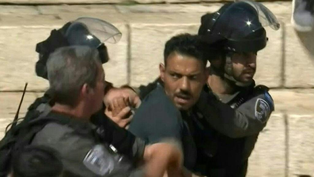 IMAGESIsraeli forces fire stun grenades to disperse protestors gathering in solidarity with the Gaza Strip at Damascus Gate in the Old City of Jerusalem.