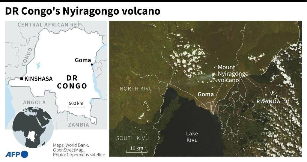 Map of DR Congo locating the Mount Nyiragongo volcano.
