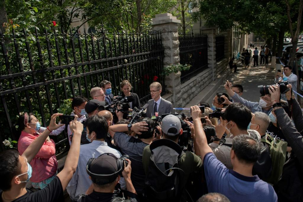 Australian Ambassador to China Graham Fletcher speaks to journalists after being denied access to Yang Jun's trial