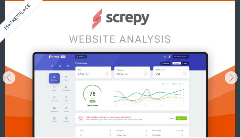 Screpy lets you analyze and monitor all your web pages in one place