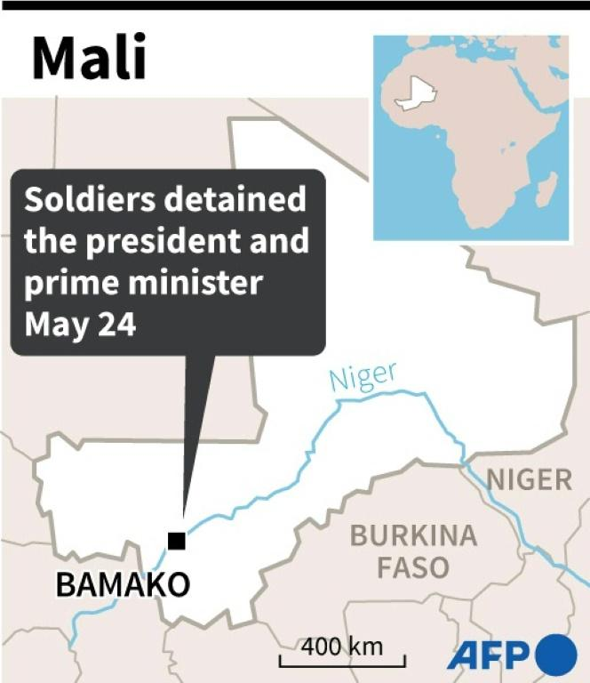 Map of Mali locating the capital Bamako where soldiers detained the president and prime minister on Monday.