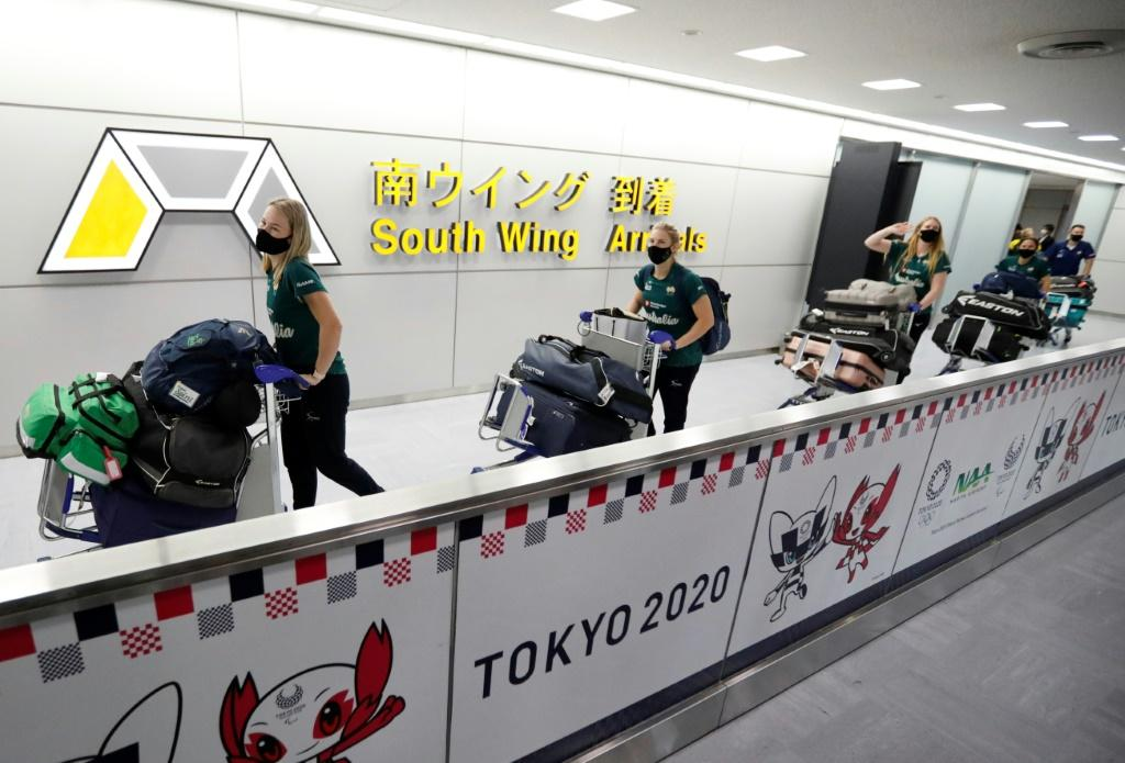 Australia's softball team were the first Olympic athletes to arrive