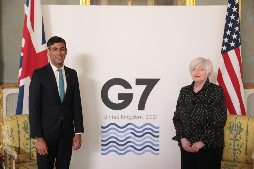 Britain's Chancellor of the Exchequer Rishi Sunak (L, with US Treasury Secretary Janet Yellen) is hosting the G7 meeting on plans for a minimum global level of corporate tax