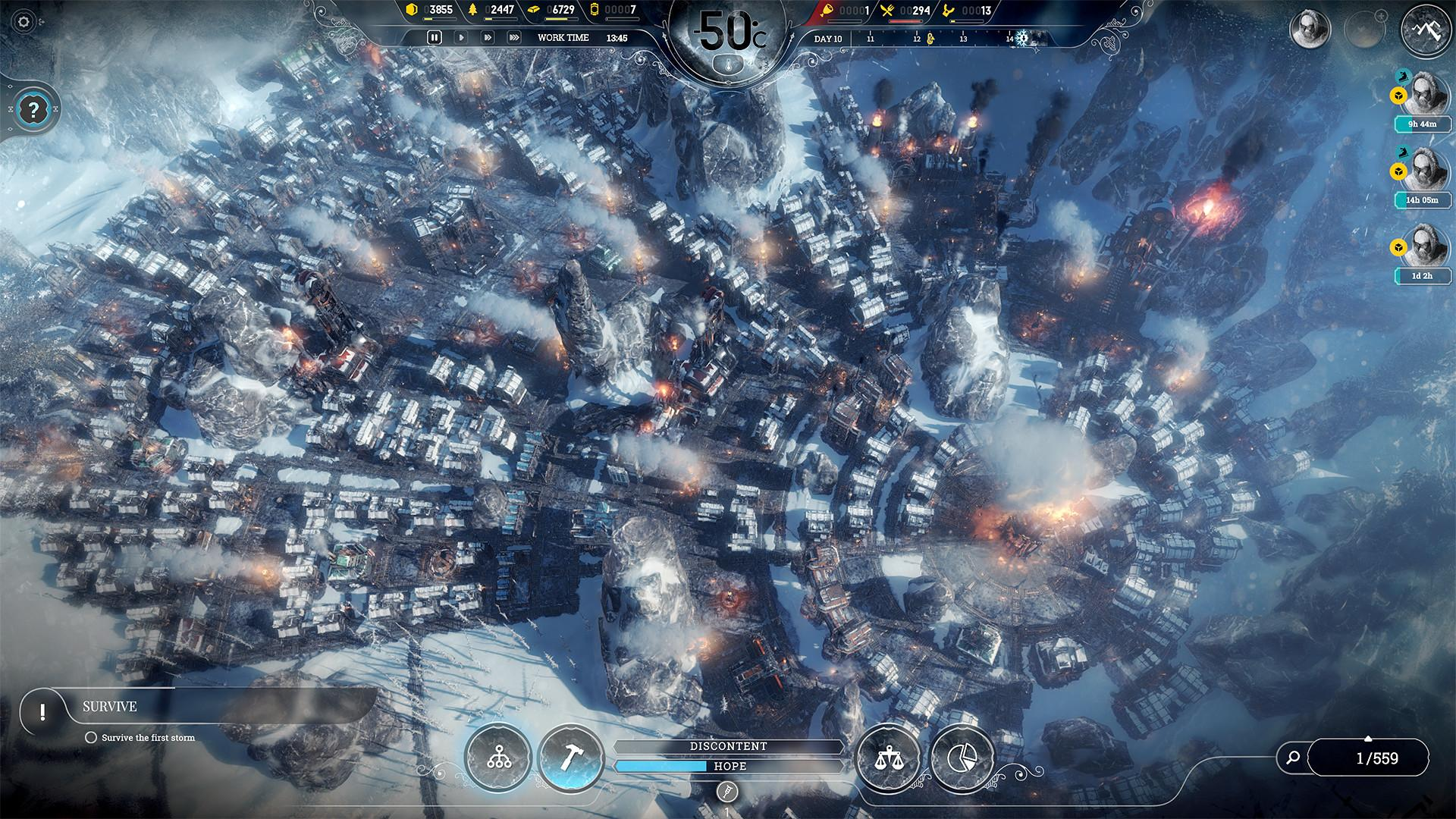 Frostpunk blends city building with survival mechanics and difficult decision making