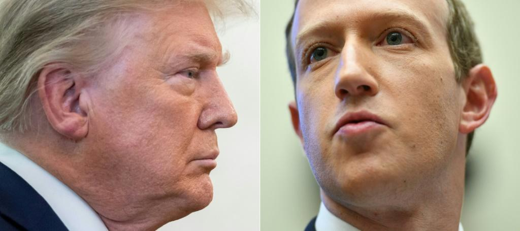 This combination of archival footage shows former US President Donald Trump and Facebook CEO Mark Zuckerberg