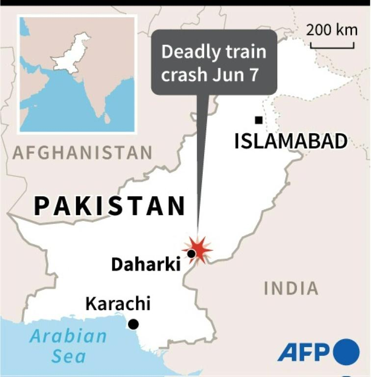 Map of Pakistan locating the city of Daharki near where an intercity passenger train derailed on Monday, killing more than two dozen people.