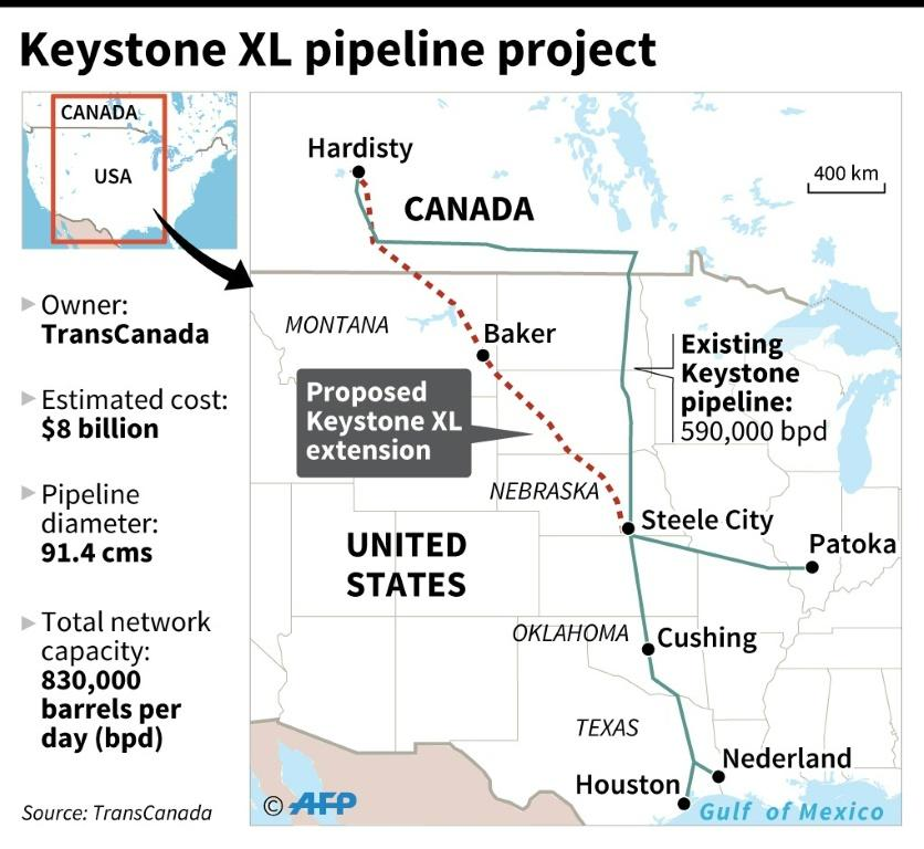 Map of Canada and the US showing the proposed route of the canceled Keystone XL pipeline