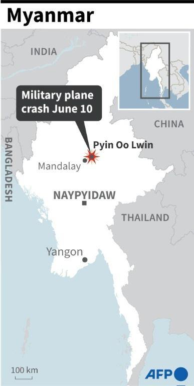 Map of Myanmar locating the town of Pyin Oo Lwin near where a military plane crashed on Thursday June 10.