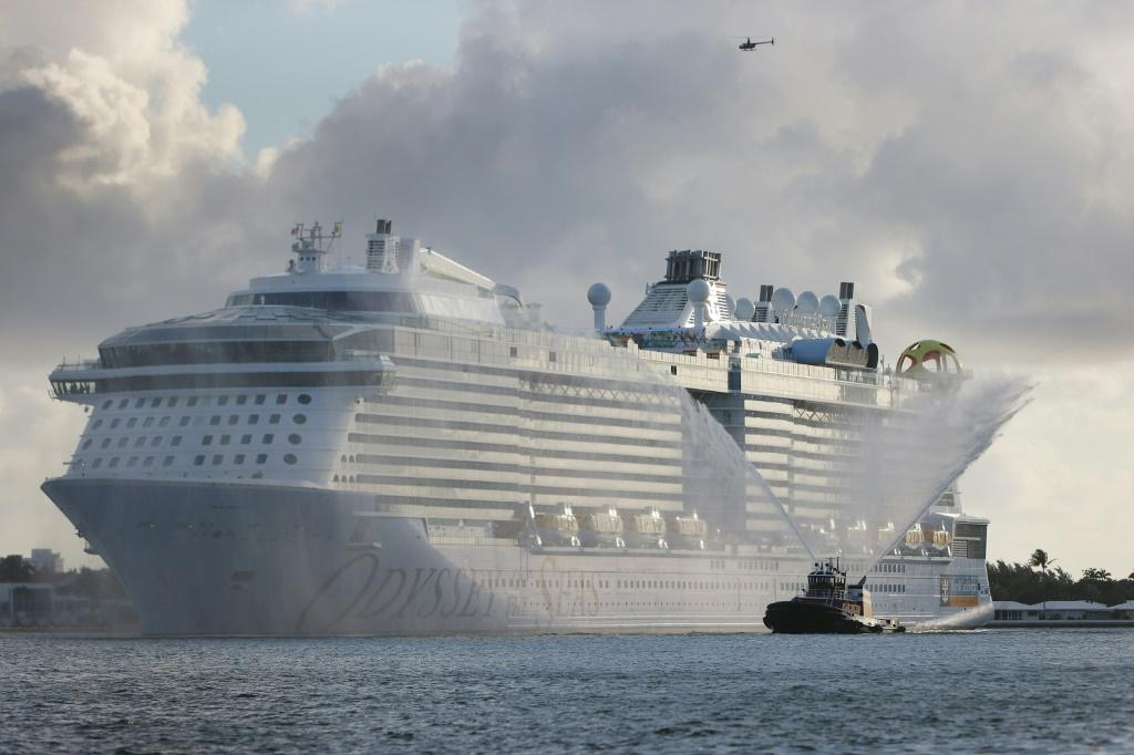 The Royal Caribbean's Odyssey of the Seas arrives at a Fort Lauderdale, Florida port on June 10, 2021 as cruise companies prepare to resume operations in July