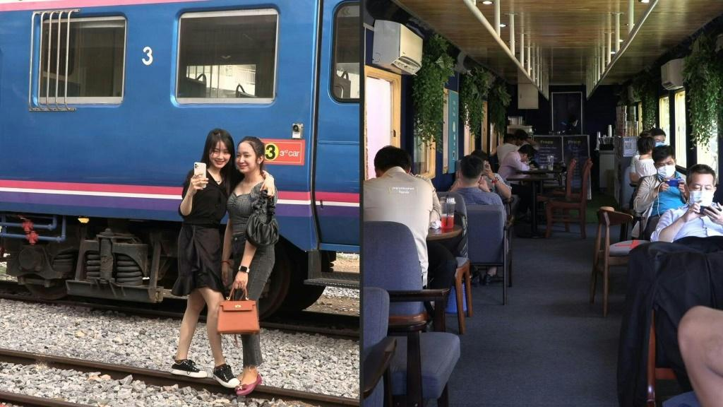 Train travel has largely ground to a halt in Cambodia due to the coronavirus but railway fans can still get their fix aboard a stationary carriage converted into a hipster cafe.
