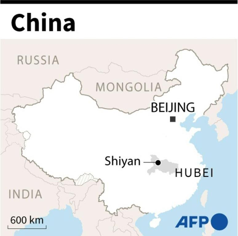 Map of China locating the city of Shiyan, in Hubei province.