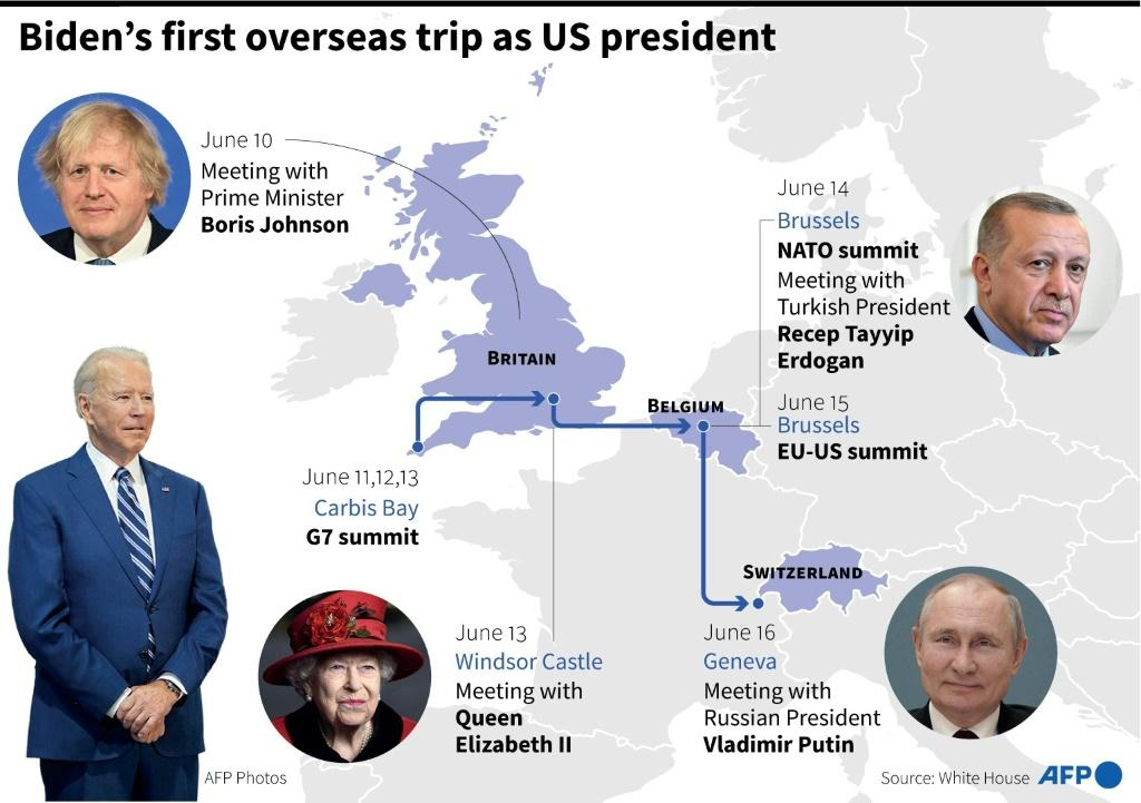 Joe Biden will visit Britain, Belgium and Switzerland in his first foreign trip as US president.
