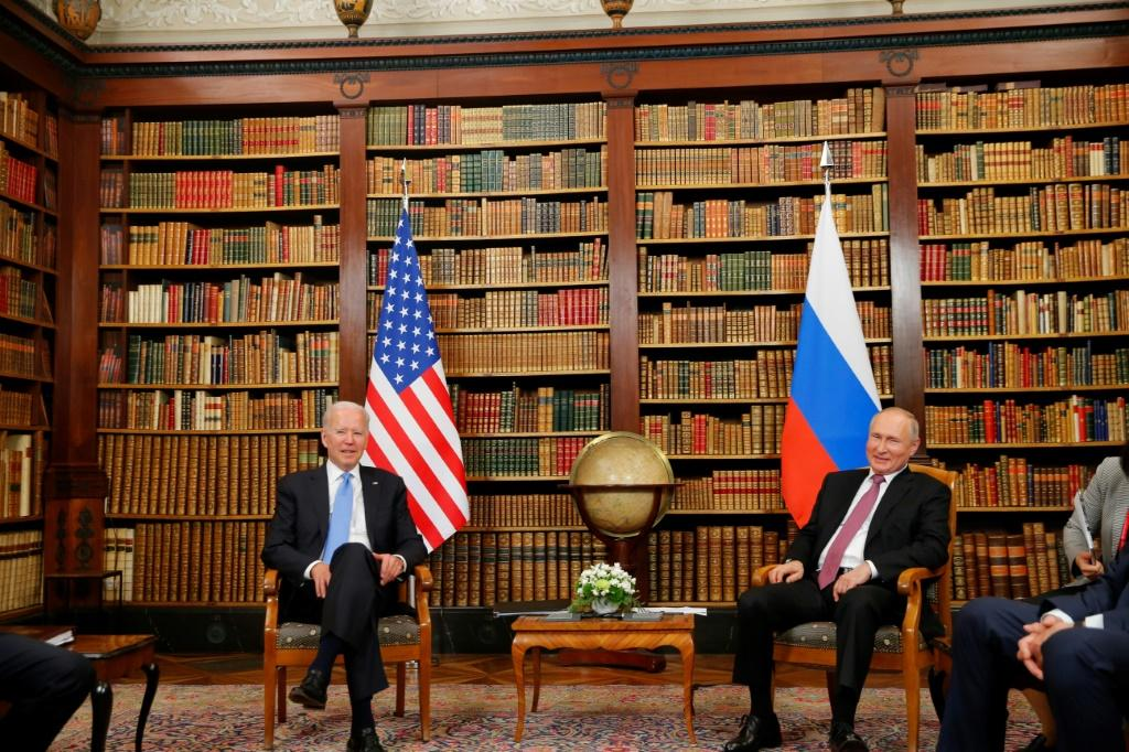 Biden and Putin were shown into the villa's showpiece library, home to 15,000 books with volumes dating back to the 15th century