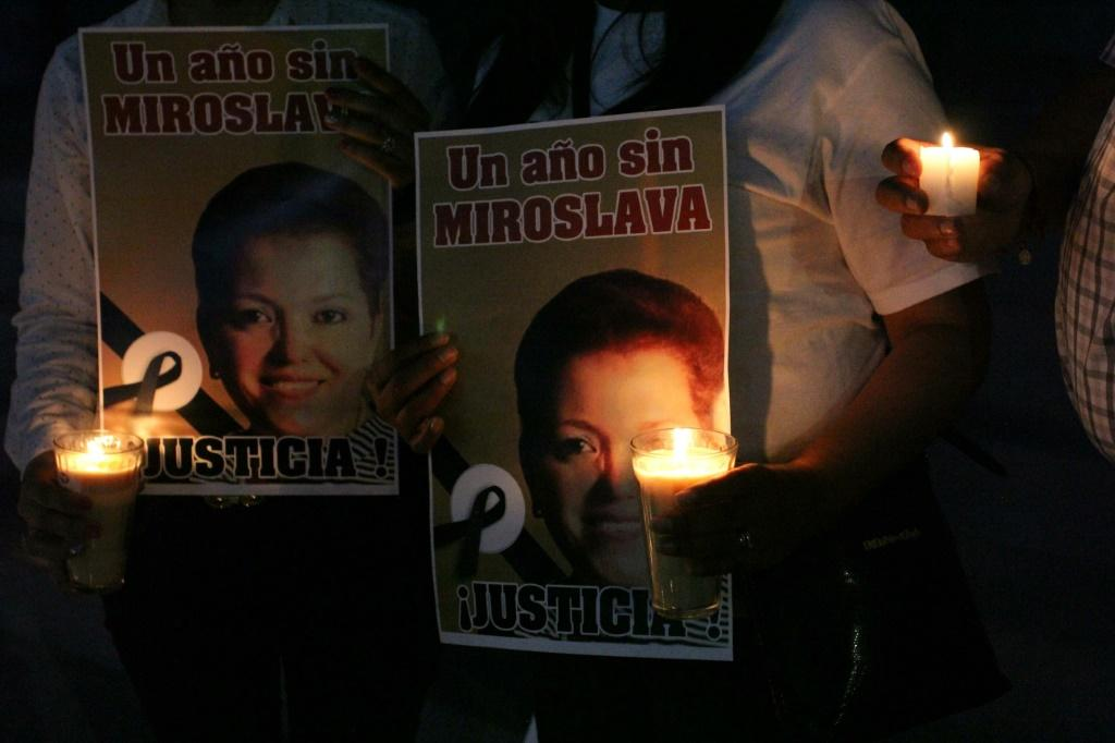 Journalists commemorate the one-year anniversary of reporter Miroslava Breach's death in Ciudad Juarez, Mexico in March 2018