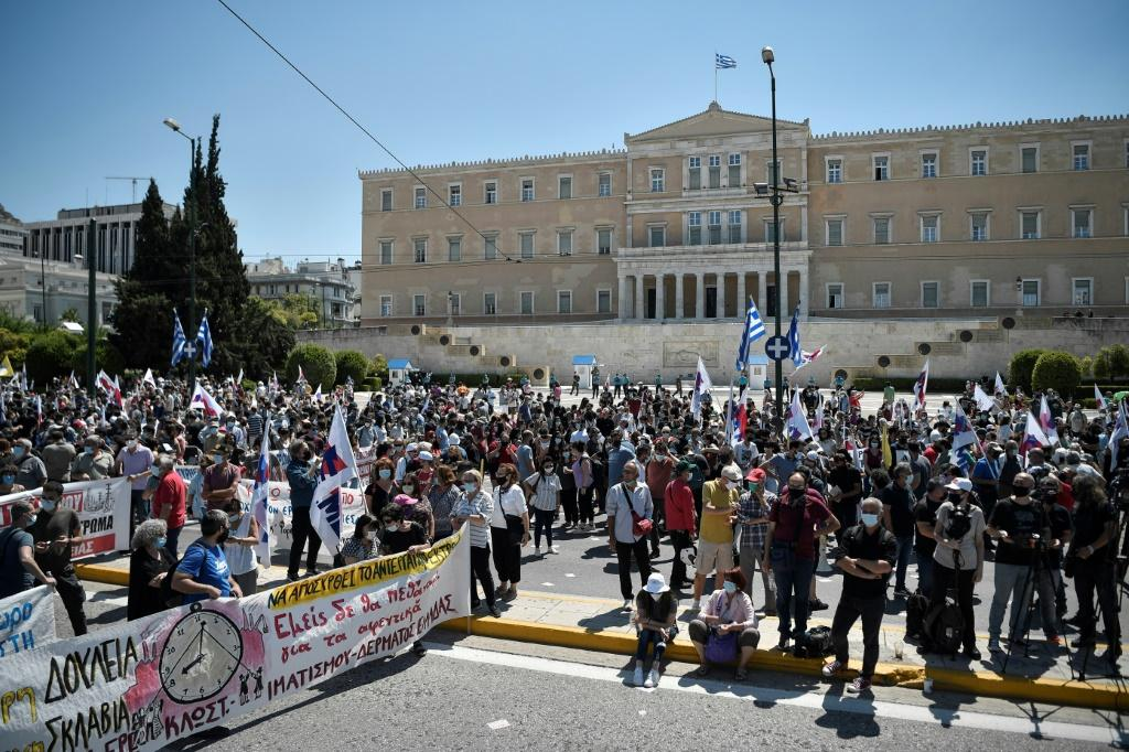 Over 7,000 people according to police demonstrated in Athens against the bill