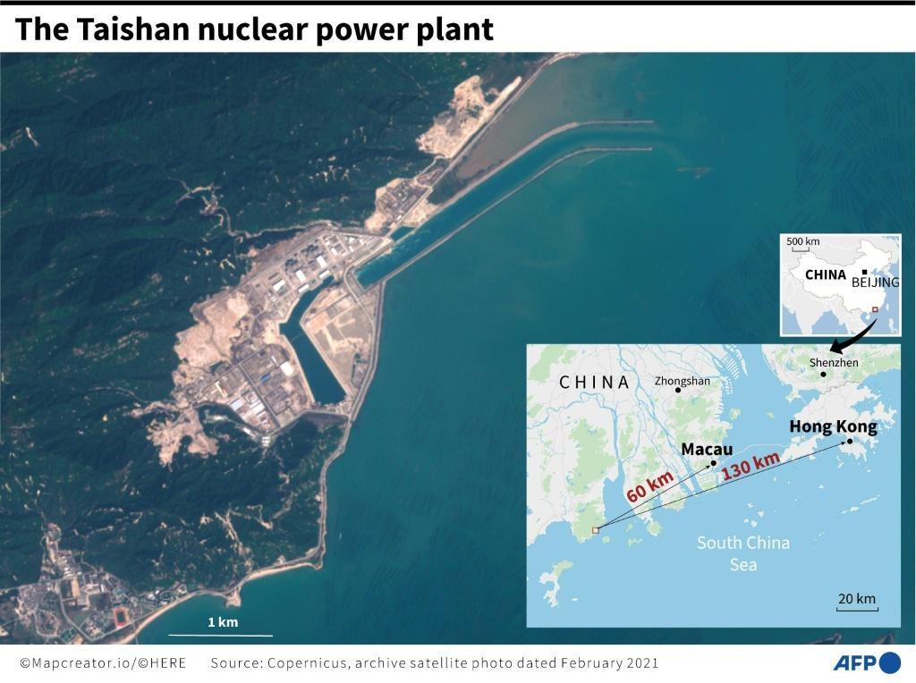 Satellite photo of the Taishan nuclear power plant in China with distances to Macau and Hong Kong.