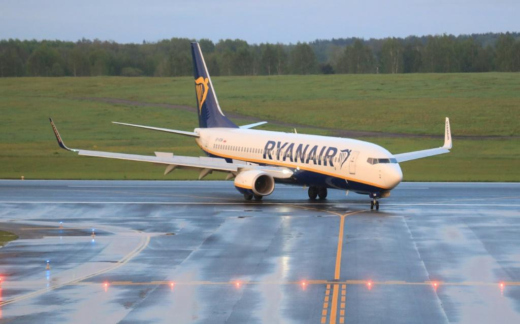 The Ryanair passenger plane that was diverted to Minsk is seen on May 23, 2021