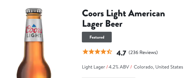Coors Light American Lager Beer