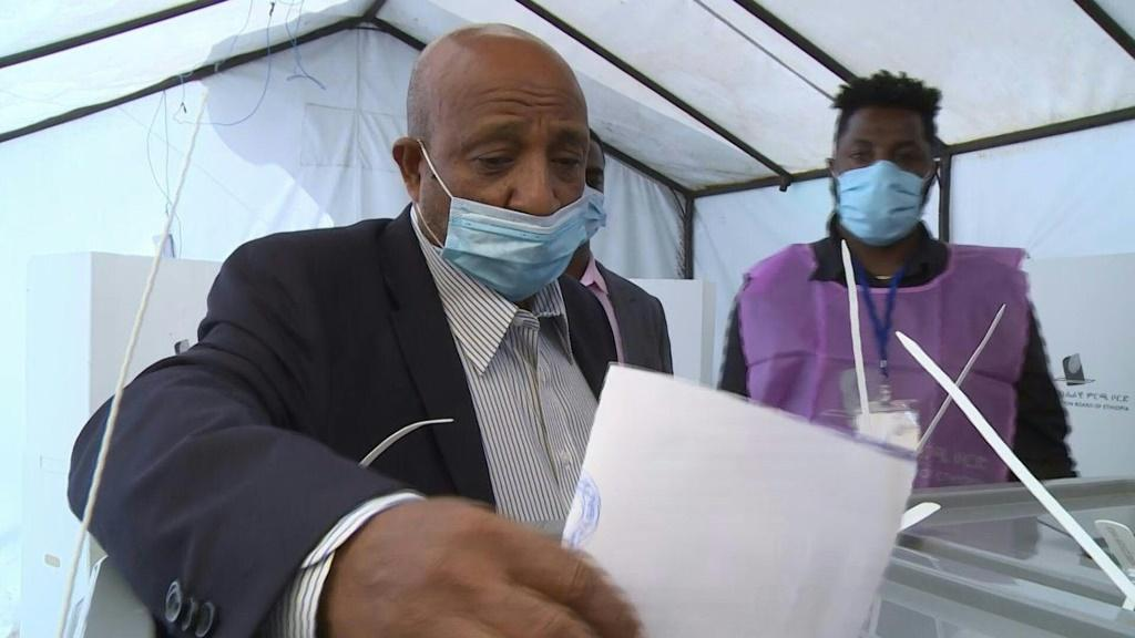 IMAGESBerhanu Nega, leader of Ethiopia's Ezema opposition party, votes in parliamentary and regional elections.