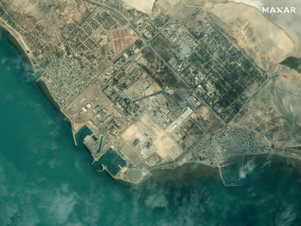 Iran's Bushehr Nuclear Power Plant, southeast of the city of Bushehr, pictured by Maxar Technologies in January last year