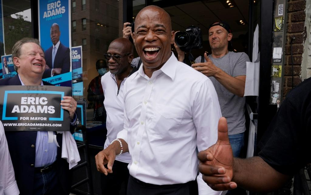 New York City Democratic mayoral candidate Eric Adams smiles during a event in Brooklyn on June 21, 2021, the eve of New York City's primary election day