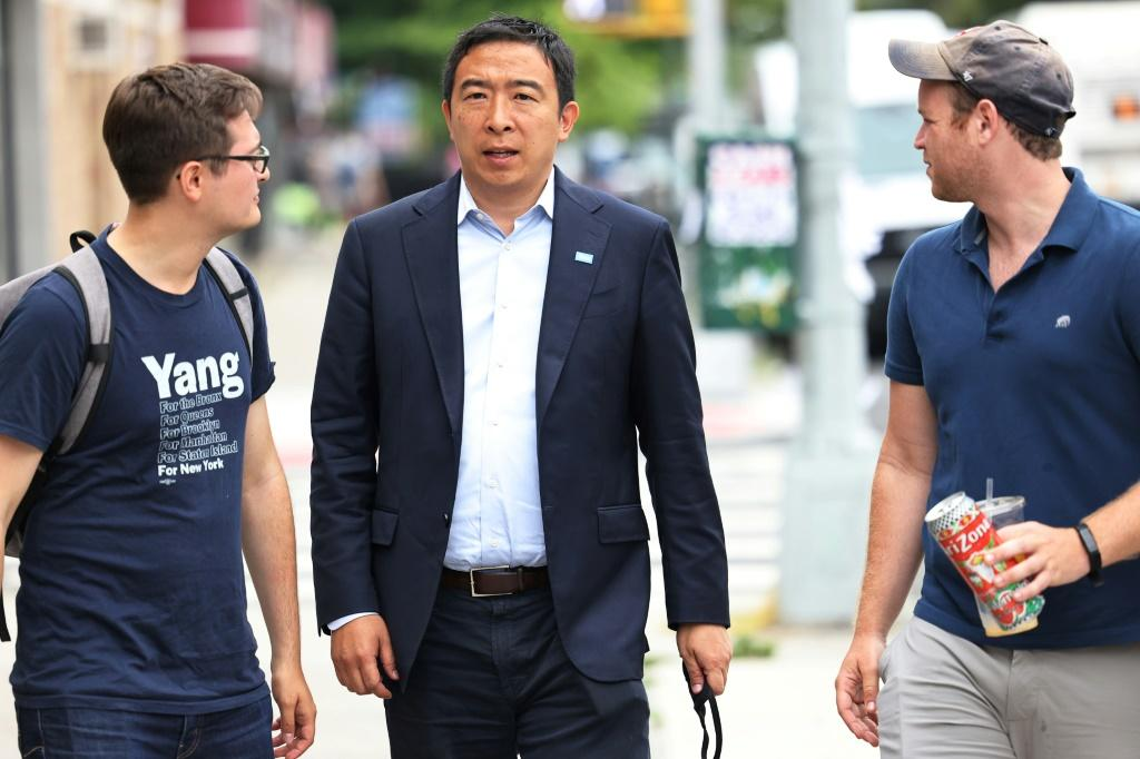 New York mayoral candidate Andrew Yang campaigns in Brooklyn on June 21, 2021