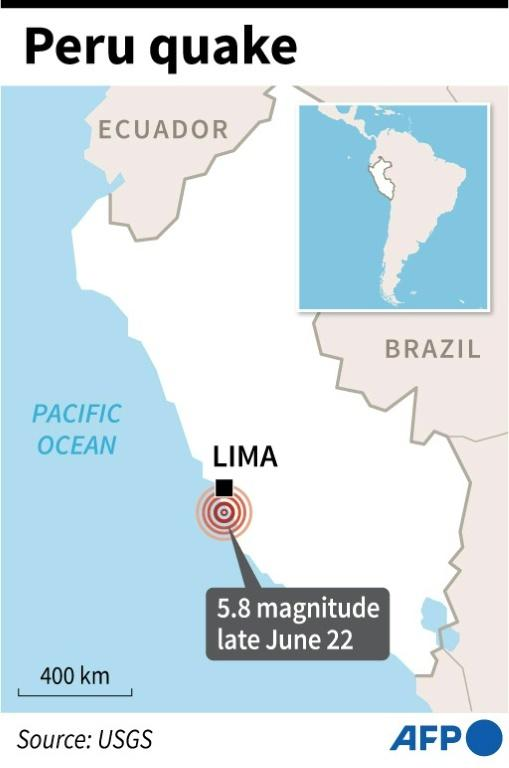 Map of Peru locating a 5.8 magnitude quake which struck late Tuesday off the central coast.