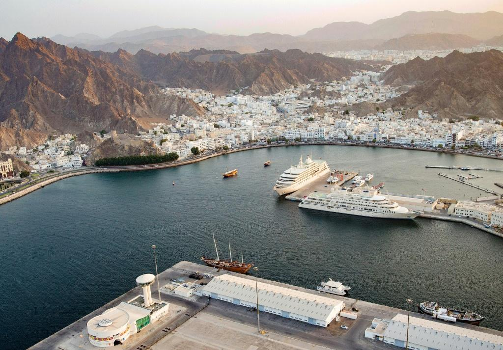 Sultan Qaboos port in the Omani capital Muscat, from the air