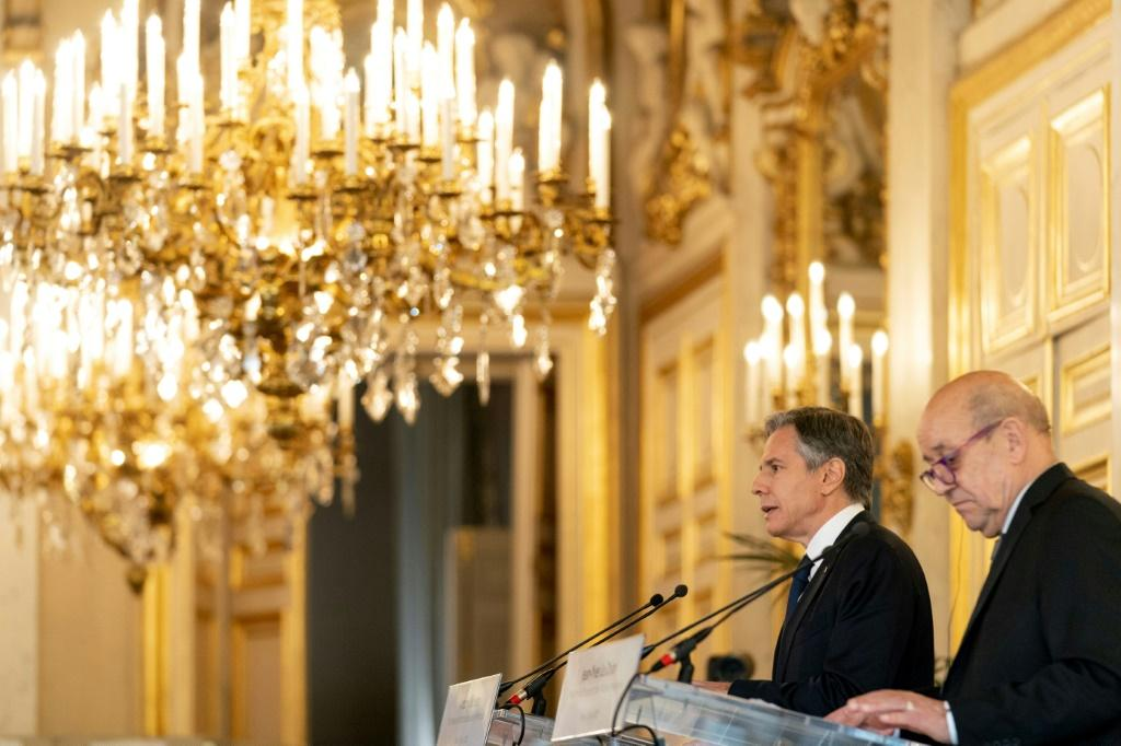 US Secretary of State Antony Blinken (left) and French Foreign Affairs Minister Jean-Yves Le Drian speak at a news conference at the Quai d'Orsay, the French foreign ministry