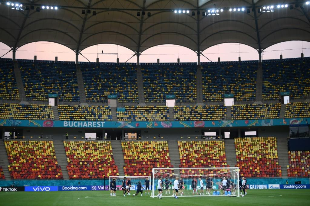 France players train inside the National Arena in Bucharest, where up to 25,000 fans will be allowed to watch their last-16 tie against Switzerland on Monday